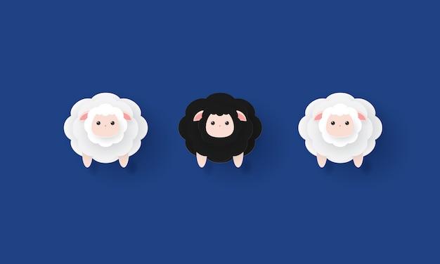 Papierowa sztuka czarnych owiec między białymi owcami, wyróżnia się, koncepcja inspiracji biznesu