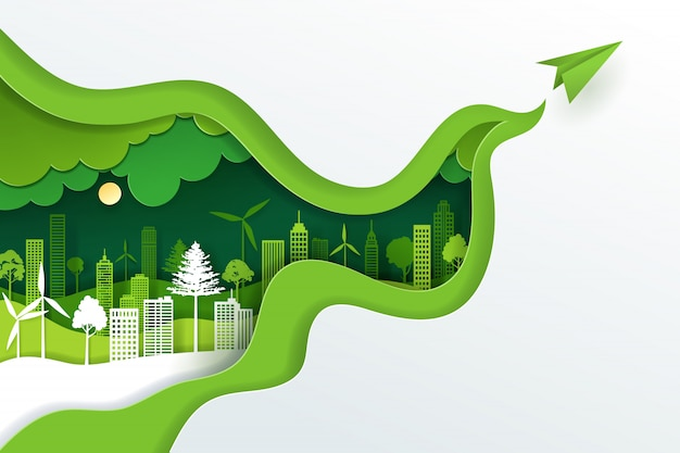 Papierowa sztuka i cyfrowy rzemiosło styl krajobrazu z zielonego eko miejskiego miasta, dnia ziemi i światowego dnia koncepcji.