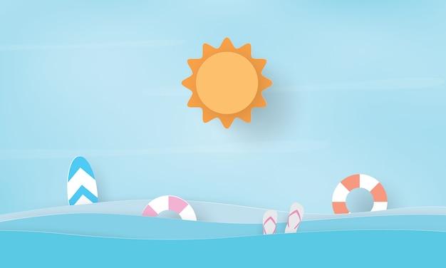 Papierowa sztuka letniego morza i sprzętu, czas letni