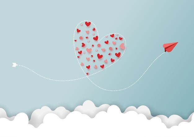 Papierowa sztuka miłości pojęcie. czerwonych samolotów latać