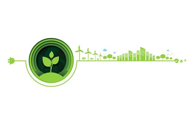 Papierowa sztuka technologii ekologicznej ekologii i koncepcja natury oszczędzają energię twórczej koncepcji pomysłu