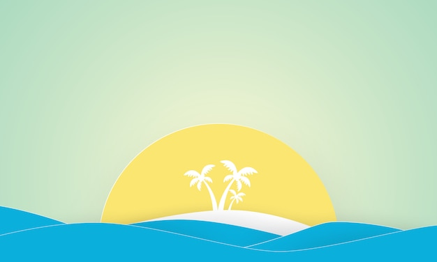 Papierowa sztuka wyspy z palmami
