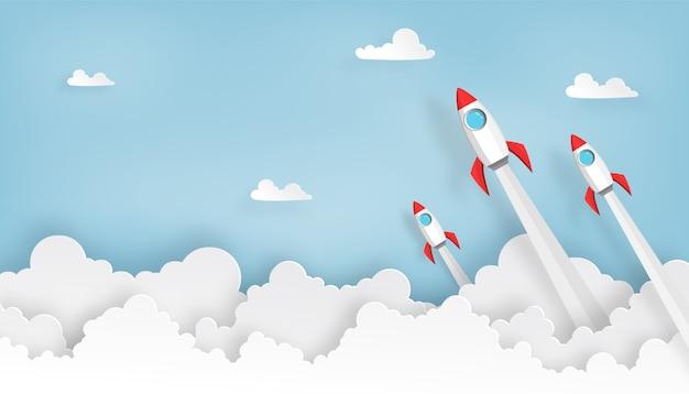 Papierowa sztuka wystrzeliwania rakiety kosmicznej do nieba