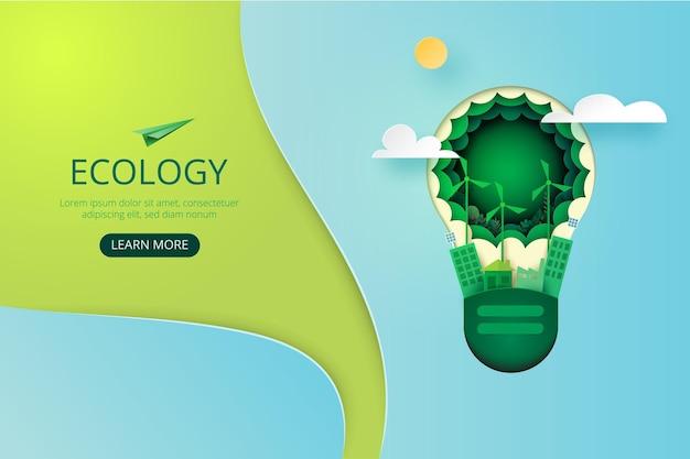 Papierowa sztuka zielonego miasta ekologicznego. ekologia i oszczędzanie energii dla koncepcji ochrony środowiska strona docelowa szablonu strony internetowej. .