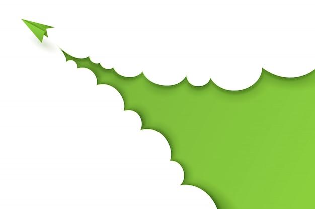 Papierowa sztuka zielonego samolotu samolotu lecącego z chmurą na zielonym tle.