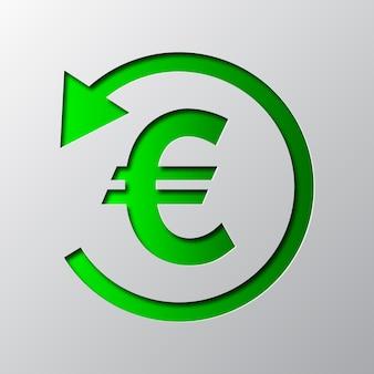 Papierowa sztuka zielonego symbolu zwrotu gotówki na białym tle. ikona zwrotu gotówki jest wycięta z papieru.
