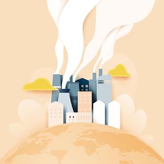 Papierowa sztuka zrównoważonego rozwoju w zielonym eko mieście, alternatywnej koncepcji ochrony energii i ekologii. ilustracja wektorowa.
