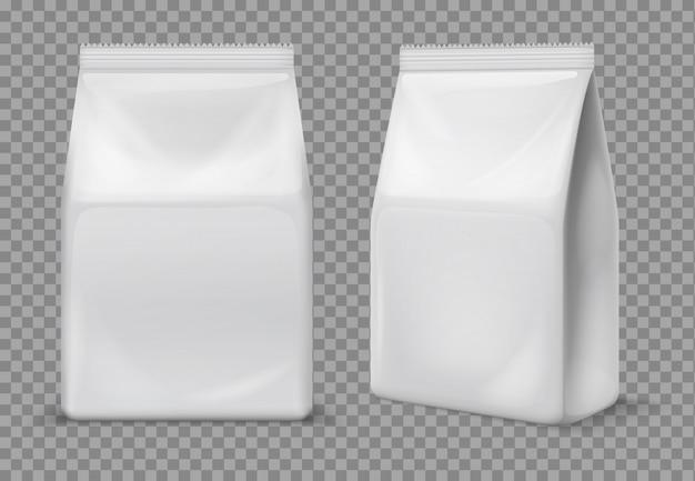 Papierowa torba na przekąski. pusta biała saszetka spożywcza, opakowanie. 3d folia wektor pakiet