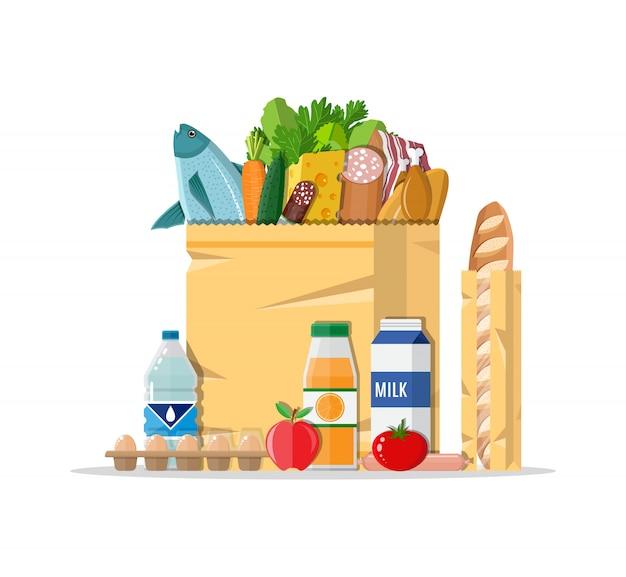Papierowa torba na zakupy pełna produktów spożywczych