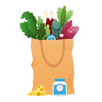 Papierowa torba na zakupy produktów spożywczych ilustracja projekt