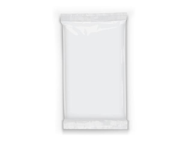 Papierowe białe opakowanie przepływu z przezroczystymi cieniami na białym tle