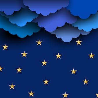 Papierowe błękitne chmury na nocnym niebie z papierowymi gwiazdami