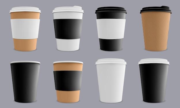 Papierowe kubki kartonowe kawiarnia lub restauracja