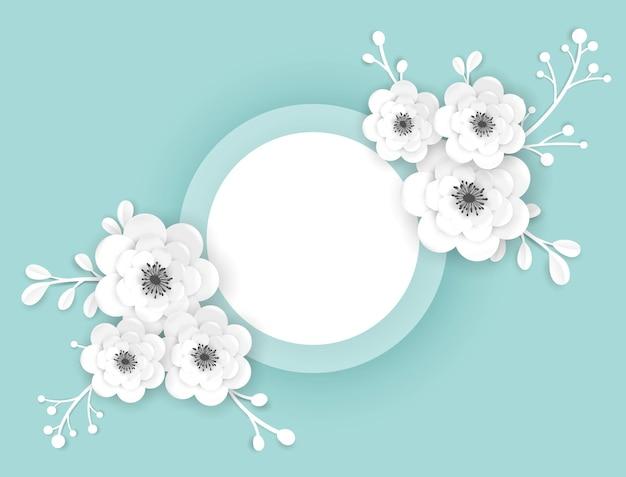 Papierowe kwiaty cięte rama szablon karty z pozdrowieniami. dekoracyjny projekt z kwiatowymi elementami 3d origami na baner wiosenny, broszurę, plakat. modny ślub tło. ilustracja wektorowa