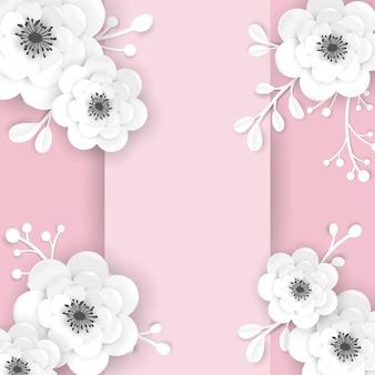 Papierowe kwiaty cięte rama szablon karty z pozdrowieniami. dekoracyjny projekt z kwiatowymi elementami 3d origami na baner wiosna, letnia wyprzedaż broszura, plakat. modny ślub tło. ilustracja wektorowa