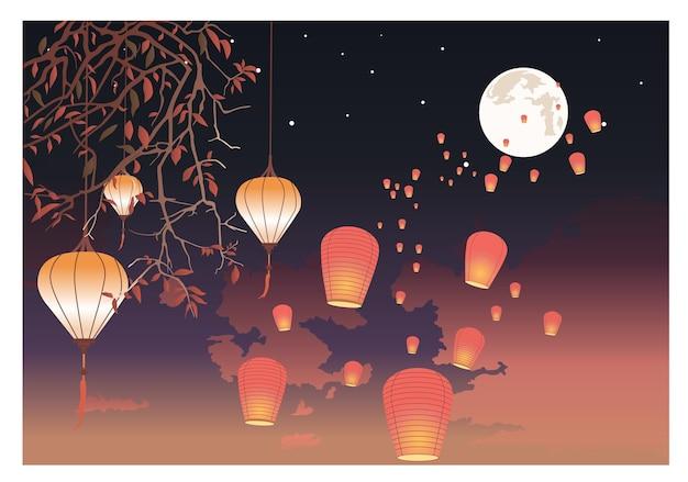 Papierowe lampiony z płomieniami lecą w nocne niebo. kolorowa ilustracja kreskówka płaski wektor