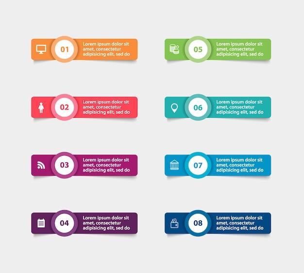 Papierowe naklejki i etykiety z realistycznymi cieniami do infografiki