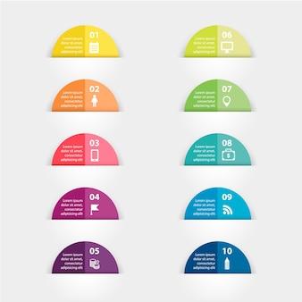 Papierowe Naklejki I Etykiety Z Realistycznymi Cieniami Do Infografiki Premium Wektorów