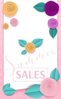 Papierowe róże różowy sztandar letnia sprzedaż