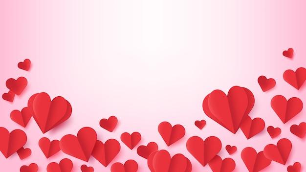 Papierowe serca. walentynki plakat z latającym origami w kształcie czerwonego serca z cieniem. symbole miłości. ślub lub rocznica wektor pozdrowienie. ilustracja banner wydarzenia, miłość origami