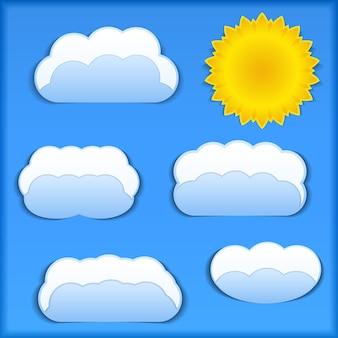 Papierowe słońce i chmury, ilustracja