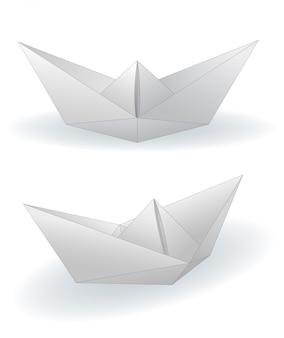 Papierowe statki ustawiają ilustrację