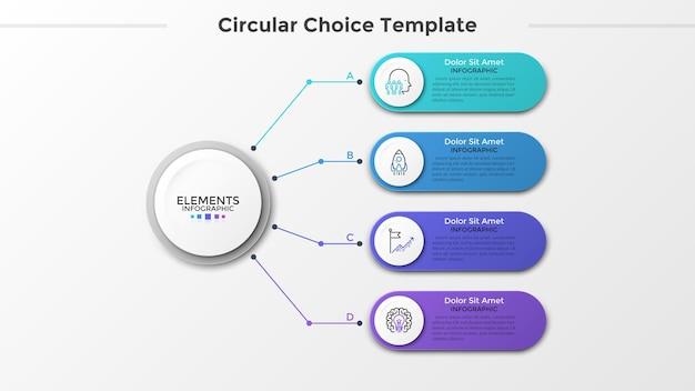 Papierowy biały okrąg połączony z 4 kolorowymi zaokrąglonymi elementami z liniowymi ikonami i miejscem na tekst w środku. pojęcie czterech cech projektu biznesowego. szablon projektu plansza. ilustracja wektorowa.
