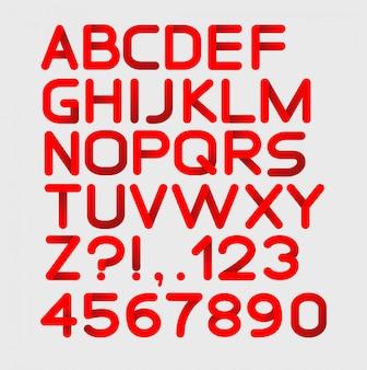 Papierowy czerwony ścisły alfabet zaokrąglony. pojedynczo na białym. pogrubienie
