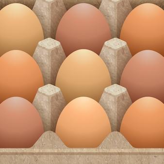 Papierowy jajecznego kartonu pakować projektujący z jajkami ilustracyjnymi