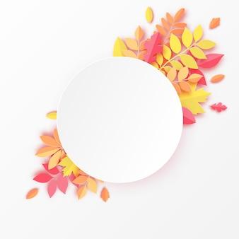 Papierowy jesienny dąb klonowy i inne liście okrągła ramka pastelowe kolorowe tło