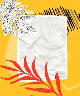 Papierowy kolaż tło z pomarańczowymi i czarnymi pociągnięciami pędzla, zmięty papier i tropikalny liść palmowy. pusta biała przestrzeń na żółtej teksturze, pionowy projekt wektorowy