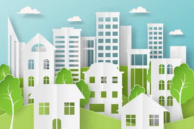 Papierowy krajobraz na tle dużego miasta