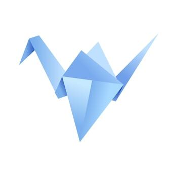 Papierowy kształt origami - ptak, żuraw. japońska sztuka składania papierowych figurek to hobby, robótki ręczne.