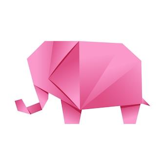 Papierowy kształt origami słoń różowy japońska sztuka składania papierowych figurek to hobby robótek ręcznych