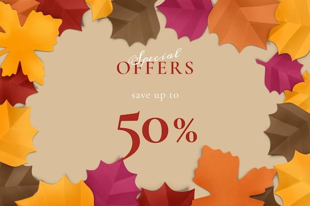 Papierowy liść szablon wektor w jesiennym tonie do reklamy w mediach społecznościowych
