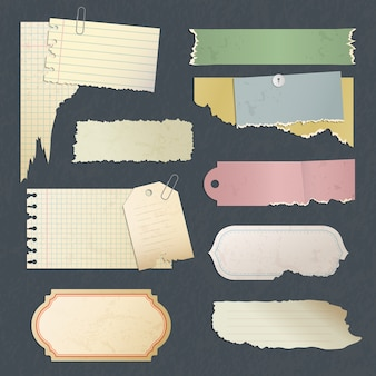 Papierowy notatnik. stare porysowane antyczne puste naklejki lub karta do kolekcji dokumentów pamiętnik. ilustracja uwaga strona retro, papier nieczysty papier notatkowy