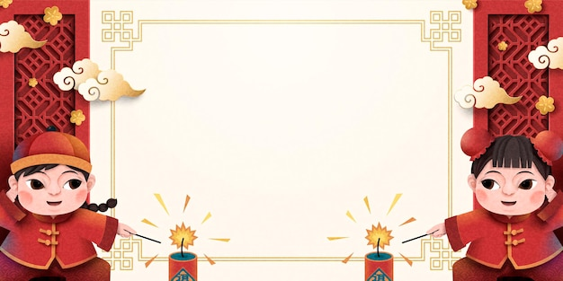 Papierowy plakat chiński nowy rok z dziećmi zapalającymi petardy, skopiuj miejsce do zastosowań projektowych