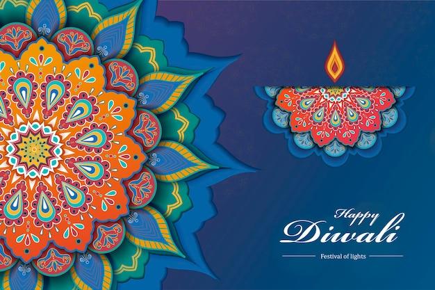 Papierowy projekt festiwalu diwali z pięknym rangoli i projektem lampy naftowej w niebieskim odcieniu