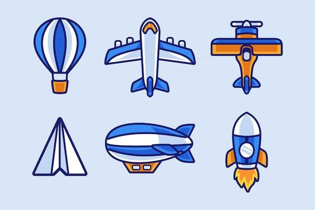 Papierowy samolot i zestaw kolekcji transportu lotniczego