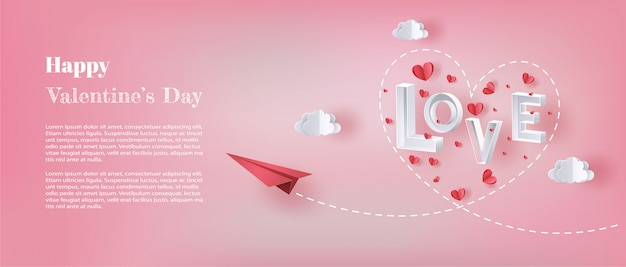 Papierowy samolot lecący na niebie z literą miłość i wiele serc pływających.