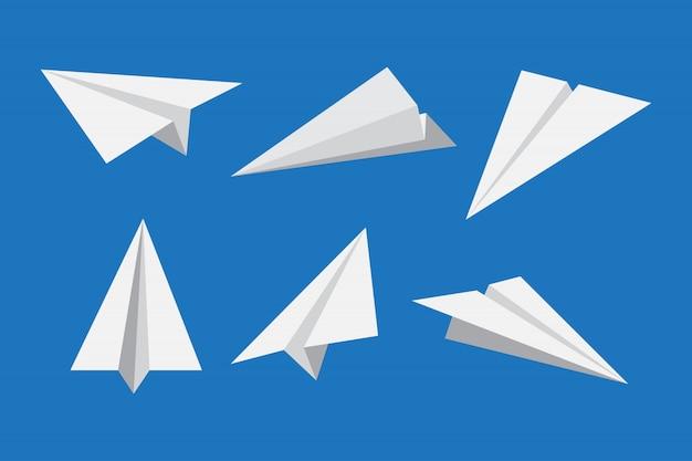Papierowy samolot lub origami samolotowy ikona set