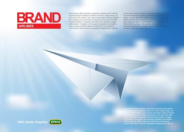 Papierowy samolotowy magazynu lub plakata szablonu origami, lata w pięknym niebieskim niebie