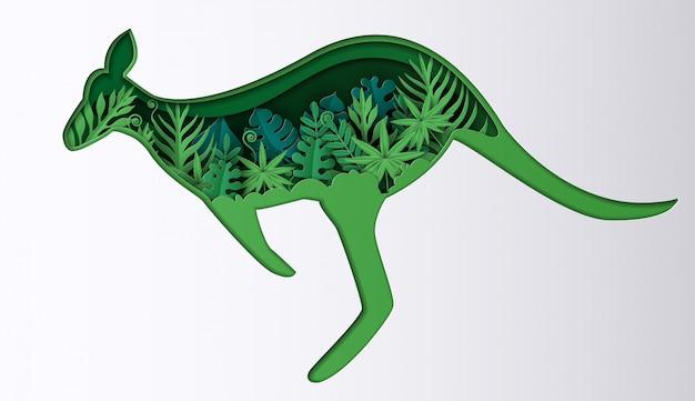 Papierowy styl kangura z wieloma roślinami, origami uratuj planetę i energię.