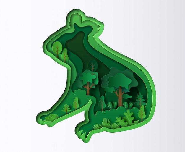Papierowy styl koali z wieloma roślinami, origami uratuj planetę i energię.