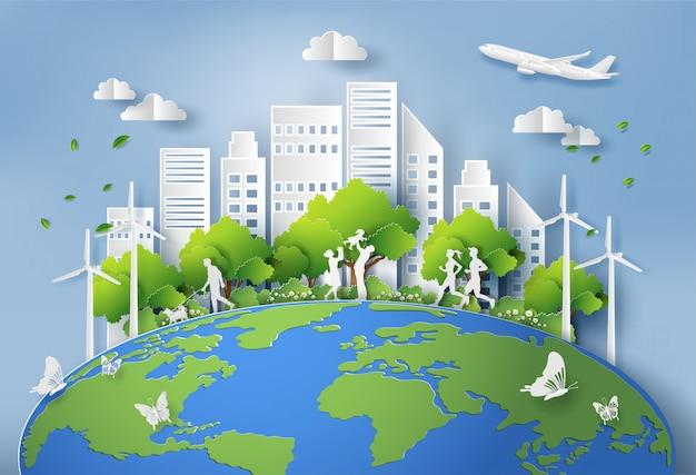 Papierowy styl krajobrazu z ekologicznym zielonym miastem.