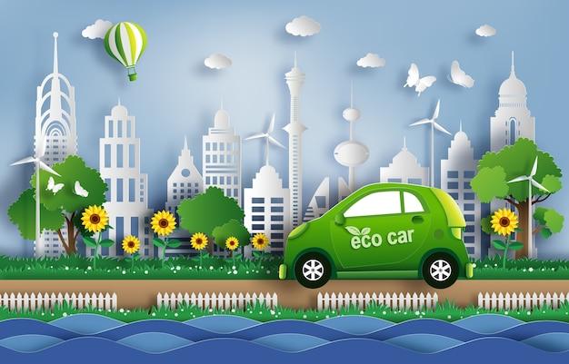 Papierowy styl sztuki eco samochód w zielonym mieście.