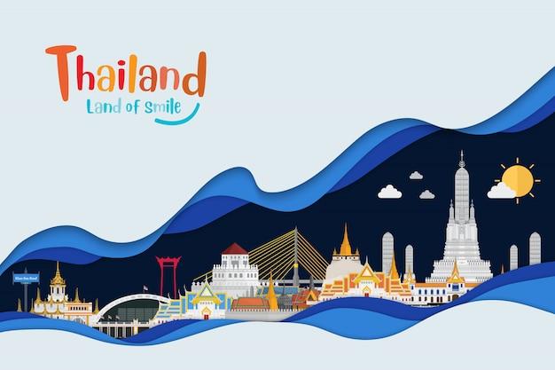 Papierowy styl sztuki i tajlandia podróżują pojęcie złoty pałac