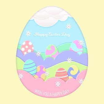 Papierowy stylowy szczęśliwy wielkanocny dzień z jajkami w świetle dziennym