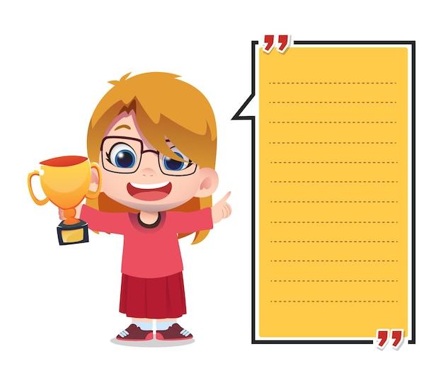 Papierowy szablon notatki z postaciami dla dzieci trzymającymi trofeum