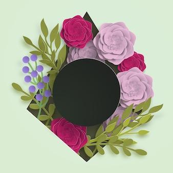 Papierowy szablon transparent lato dla reklamy w mediach społecznościowych, projekt zaproszenia lub sprzedaż plakatu z papierowymi kwiatami i liśćmi w tle. ilustracja wektorowa